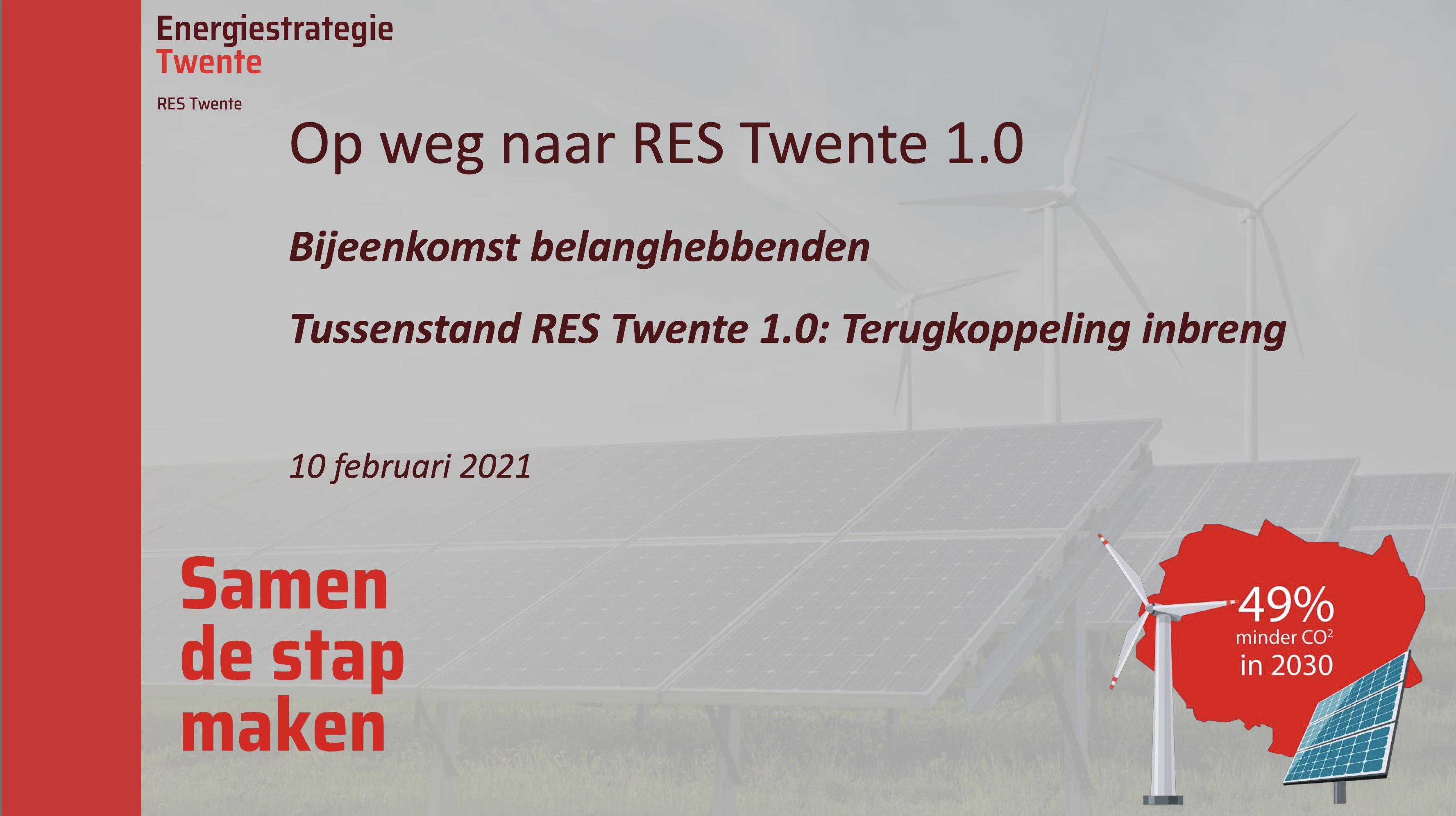 Bijeenkomst RES Twente met belanghebbenden en geïnteresseerden concept RES 1.0